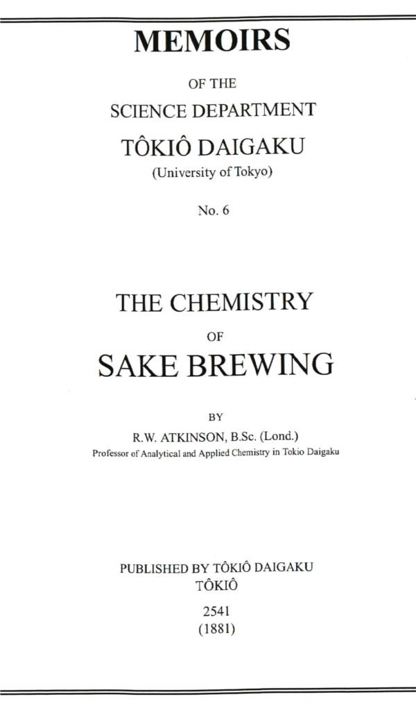 Atkinson, The Chemistry of Sake Brewing